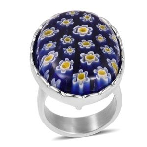 Blue Color Murano Millefiori Glass Stainless Ring